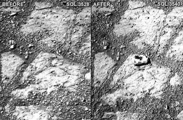 Mysterious rock just appeared in front of Opportunity