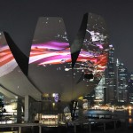 Amazing Projections onto Singapore art science museum b...