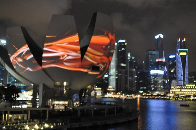 Projections onto Singapore art science museum by Naoko Tosa (3)