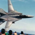 An F-14 Tomcat made a super low flyby