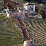 Giant rock smashes through Italian farm