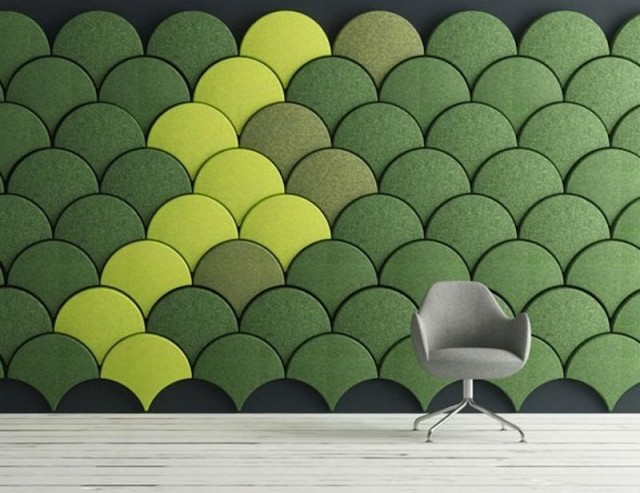Ginko scale-shaped acoustic tiles (4)
