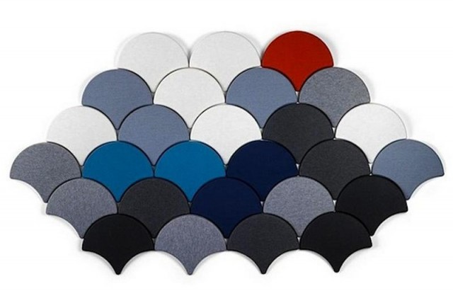 Ginko scale-shaped acoustic tiles (3)