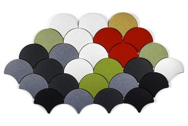 Ginko scale-shaped acoustic tiles (1)