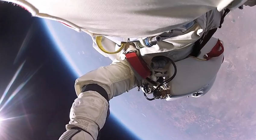 Felix Baumgartner from stratospheric balloon.