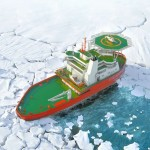 Russian Icebreaker traveling Sideways through frozen ic...