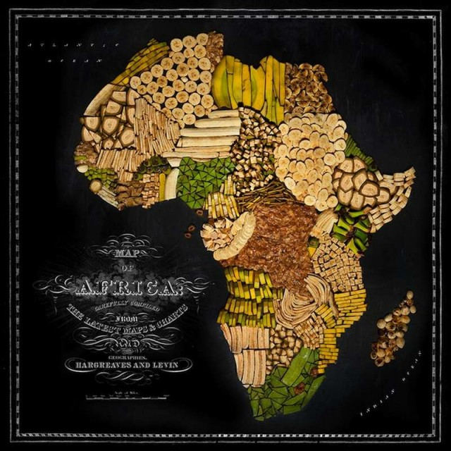 Continent Maps made out of real Food 1