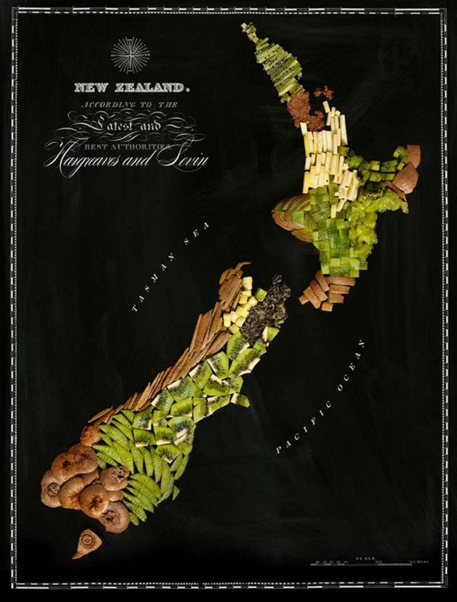 Continent Maps made out of real Food 8