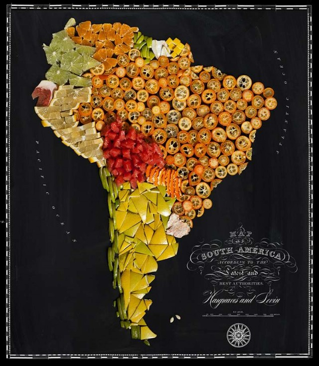 Continent Maps made out of real Food (3)