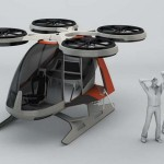 Futuristic helicopter propelled by 4 rotors