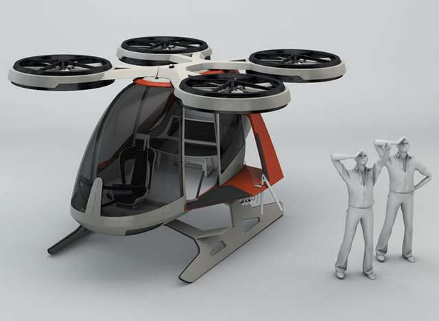 Futuristic helicopter propelled by 4 rotors 1