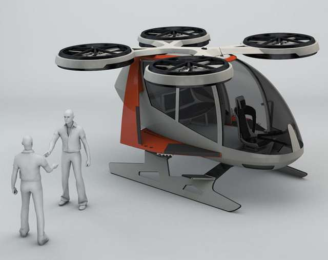 Futuristic helicopter propelled by 4 rotors (2)