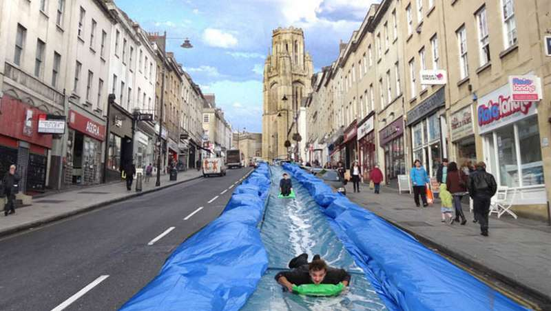 Giant Waterslide over a street in Bristol 1