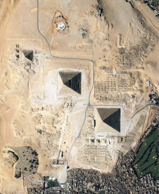 Pyramids of Giza from space