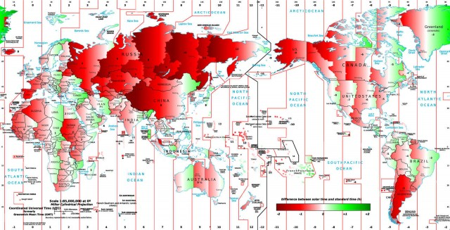 Map showing how far out you are from Solar time