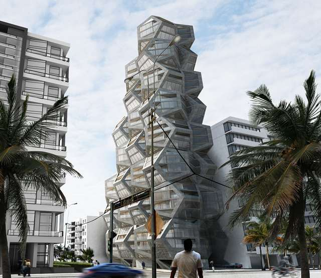 Pentagonal housing tower by Tammo Prinz architects 1