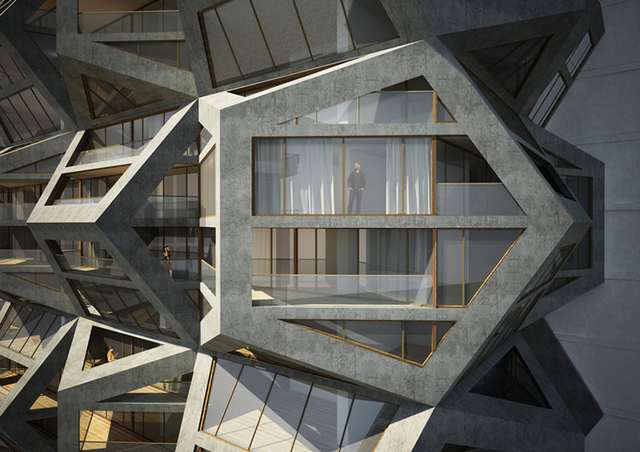 Pentagonal housing tower by Tammo Prinz architects (7)