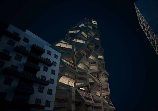 Pentagonal housing tower by Tammo Prinz architects (1)