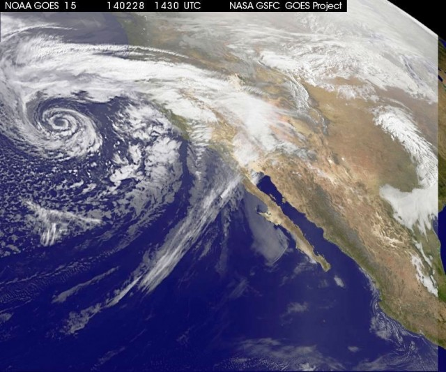 Swirling Storm approaching California