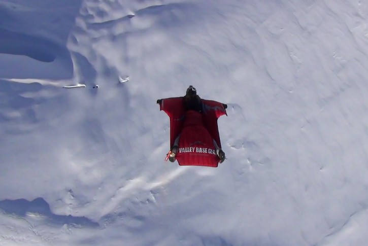 Wingsuit flight over the Swiss Alps