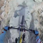 Insane mountain bike down a rocky narrow cliff