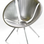 This chair is made using metal-pressing technology for ...