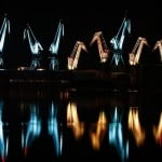 Lighting Giants- illuminated shipyard cranes