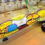 The graffiti on the Boeing of the Brazilian national fo...