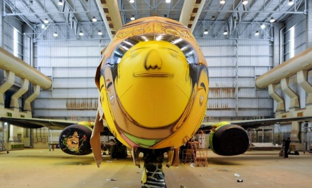 The Boeing of the Brazilian national football team with graffiti (1)