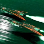 Futuristic Flying racers over the ocean
