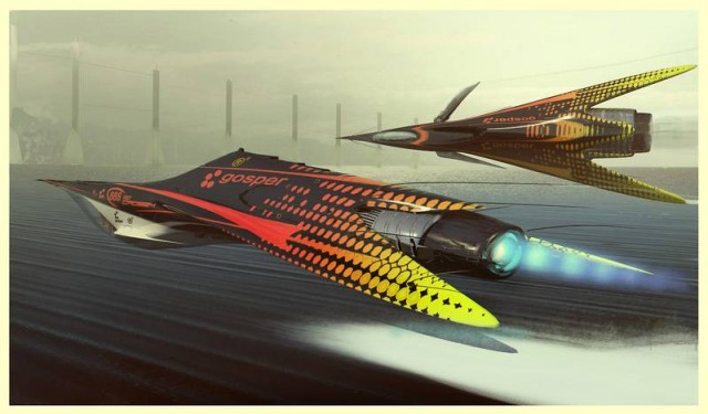 Futuristic Flying racers (2)