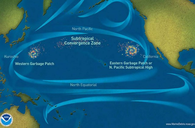 Ocean Garbage Patches map