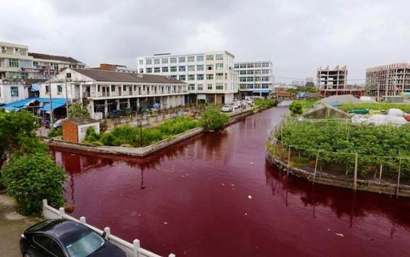 River turned blood-red