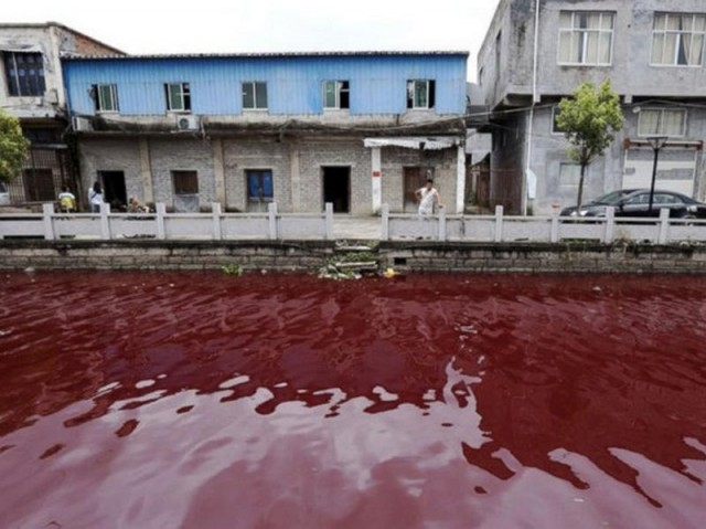 River turned blood-red-