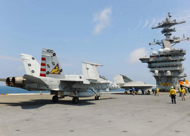 X-47B drone with F A-18 aircraft