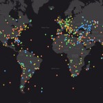 An interactive world map with photos taken from the ISS