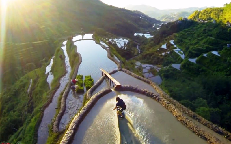 Wakeskate the rice terraces