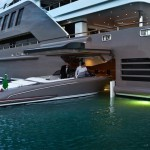 First yacht featuring a floating garage