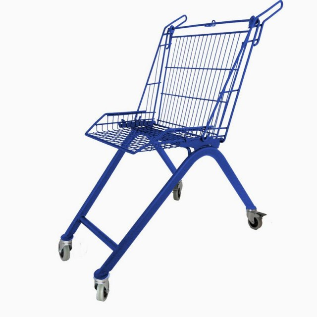 discarded shopping carts into chairs