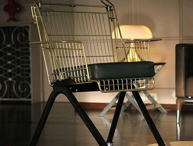 discarded shopping carts into chairs (2)