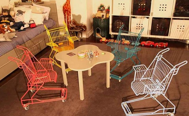 discarded shopping carts into chairs (1)