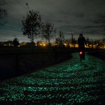 Illuminated cycle path inspired by Starry Night