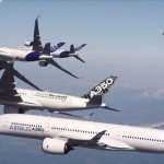 Family flight – Five Airbus A350 in formation flight