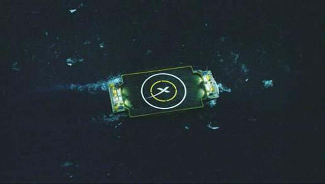 SpaceX ship in the Atlantic Ocean