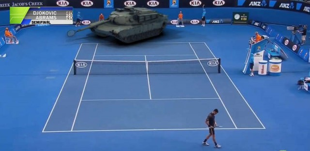 Tennis game with a tank
