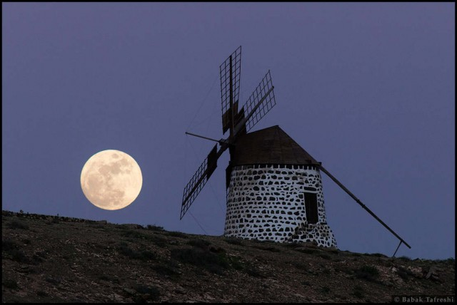 Full Moon and Windmill