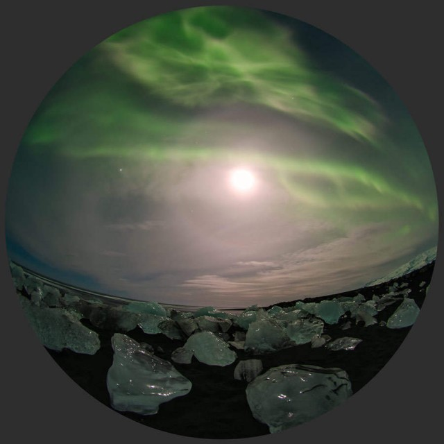Ice, Moon with a halo, Jupiter and Aurora