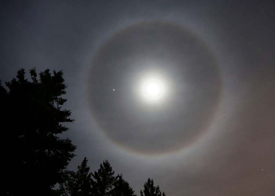 Jupiter, halo and the Full Snow Moon