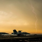 Lightning over the aircraft carrier