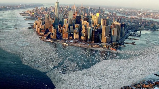 Aerial image New York surrounded by ice